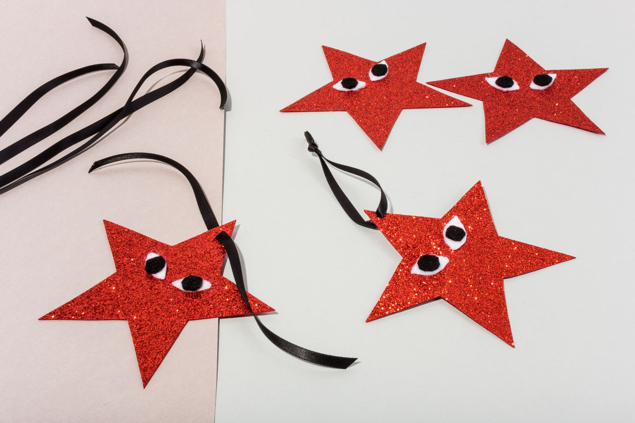 Assembil Blog: Fashion Baubles 2017. Playful Star Decorations. Add ribbons for hanging.