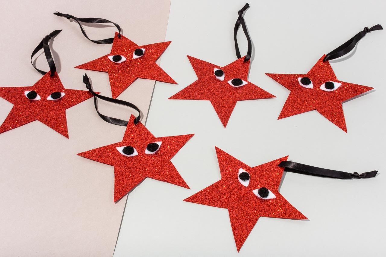 Assembil Blog: Fashion Baubles 2017. Playful Star Decorations. Finished stars.