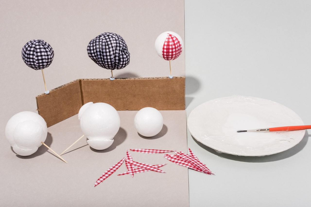 Assembil Blog: Fashion Baubles 2017. Lumps and bumps baubles. Cover baubles with shaped gingham and glue.