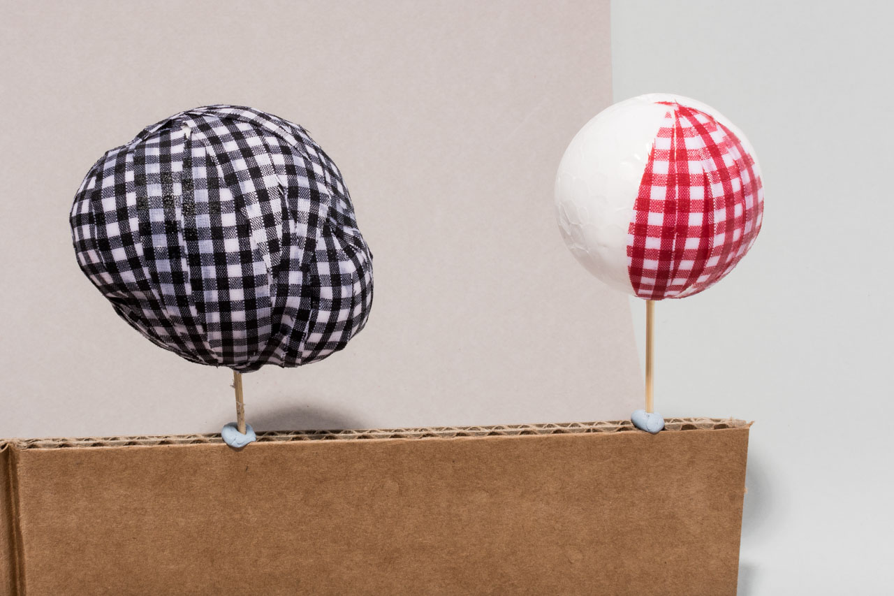Assembil Blog: Fashion Baubles 2017. Lumps and bumps baubles. Cover baubles with gingham.
