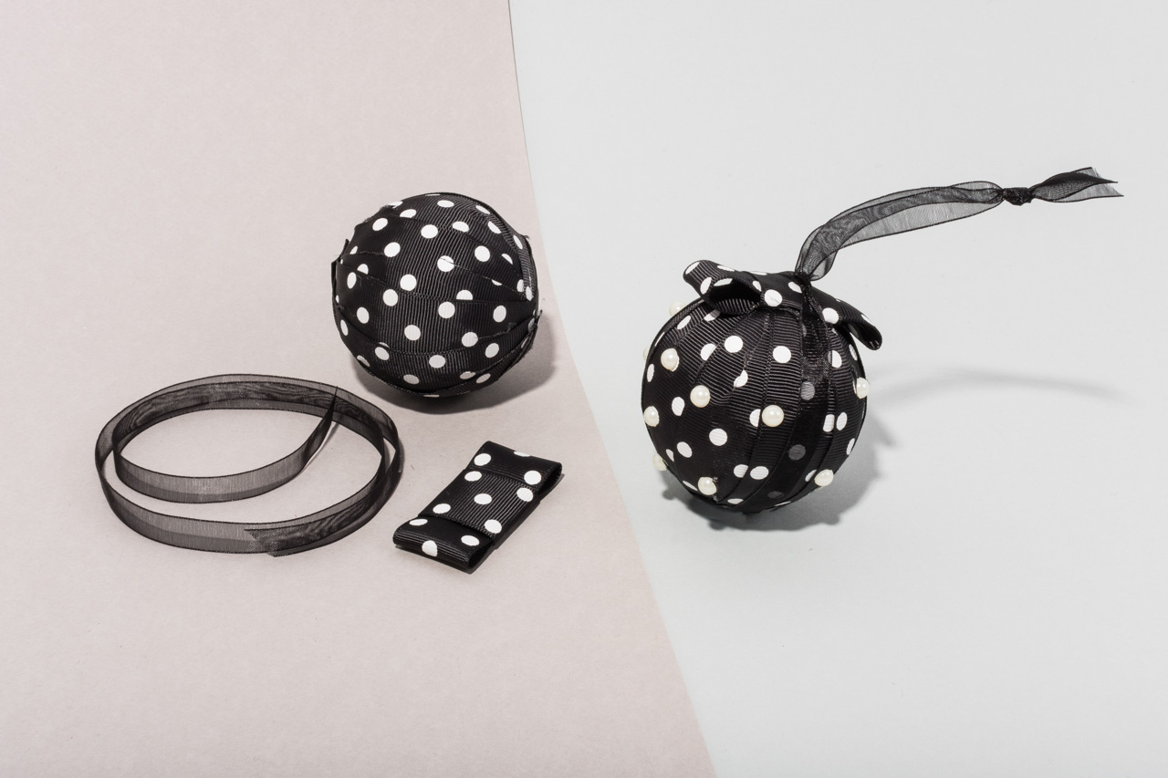 Assembil Blog: Fashion Baubles 2017. Polka Dots. Add hanging ribbon.
