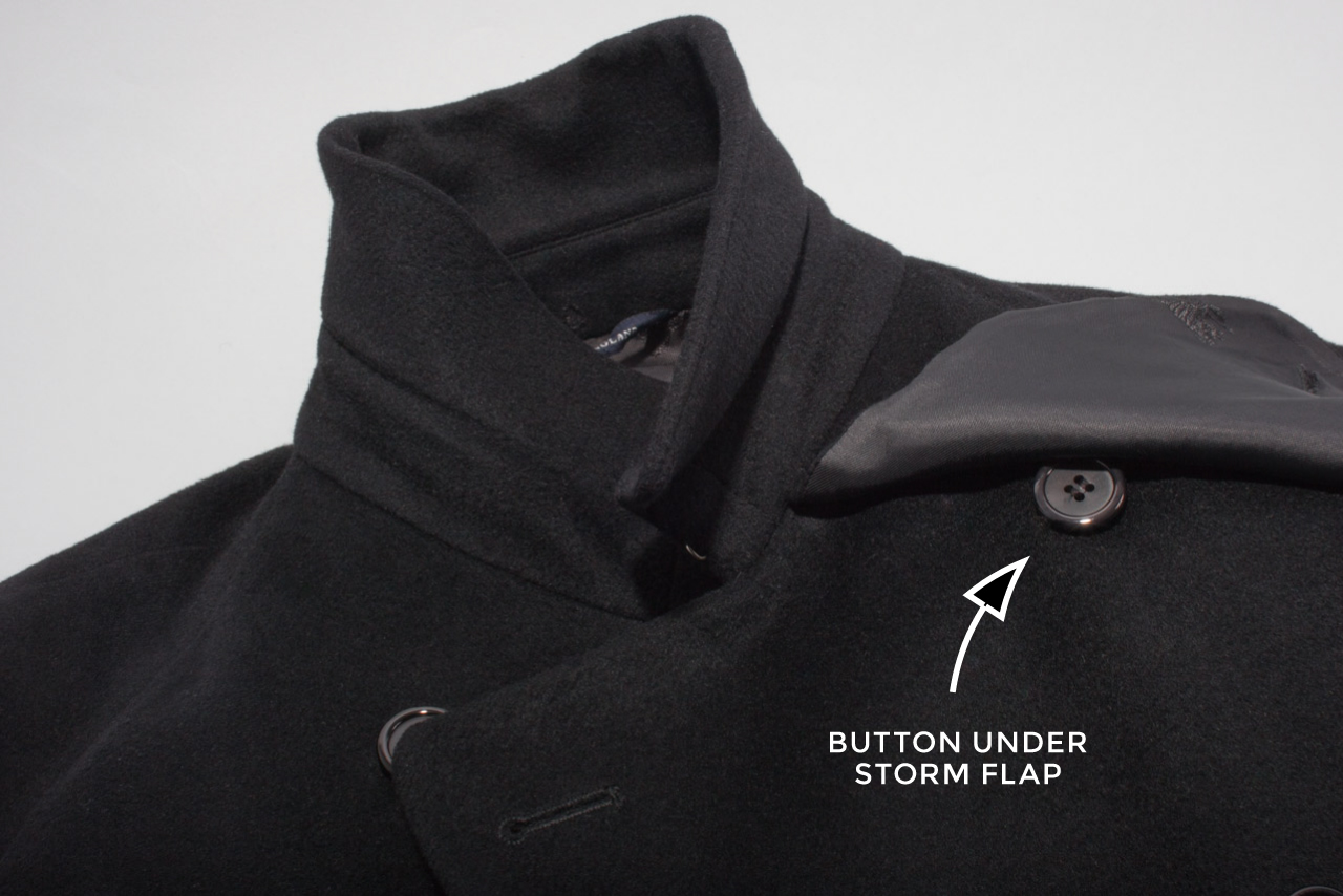 Assembil Blog: Repair Coat Buttons. Button under storm flap.