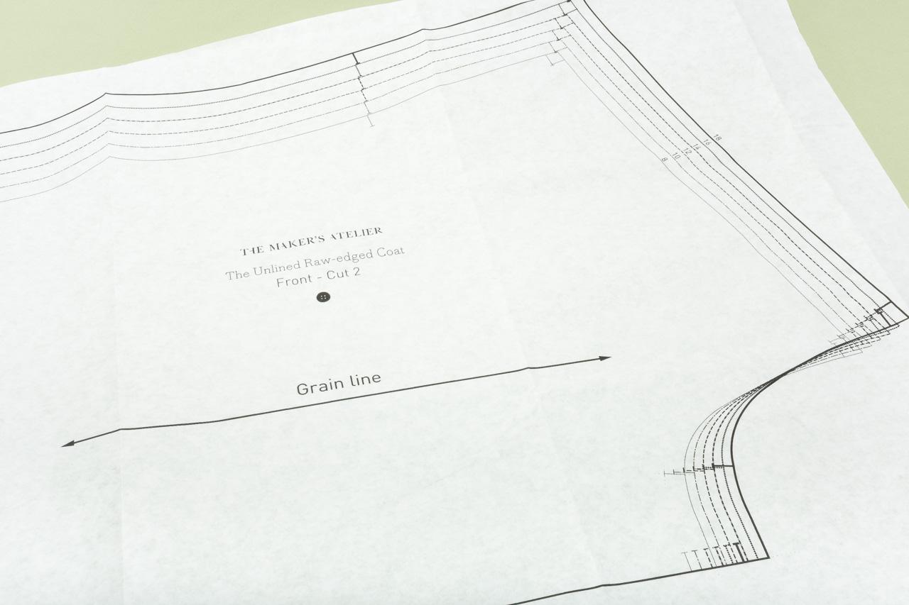 Assembil Blog: The Maker's Atelier Raw Edged Coat pattern. Pattern detail, image 2.
