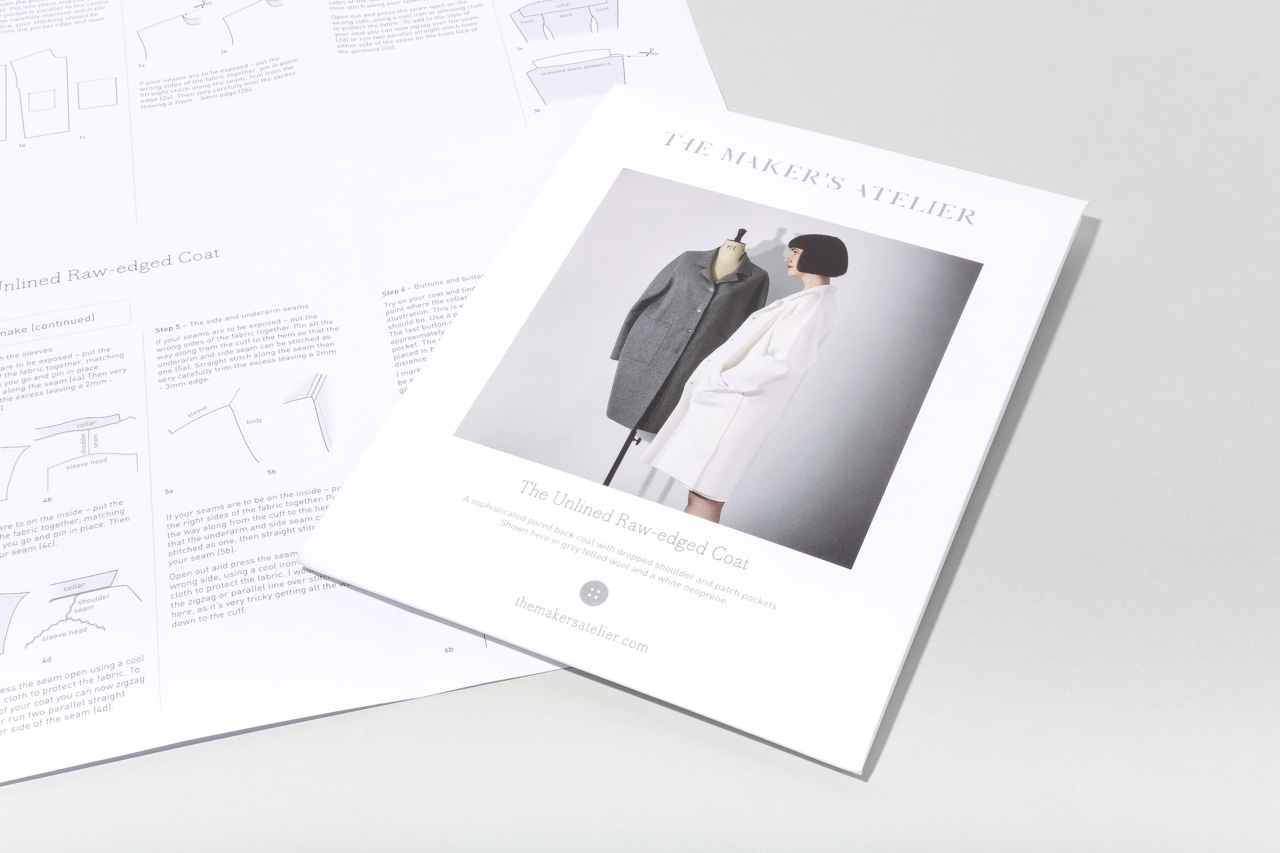 Assembil Blog: The Maker's Atelier Raw Edged Coat pattern. Pattern envelope and instructions, image 4.