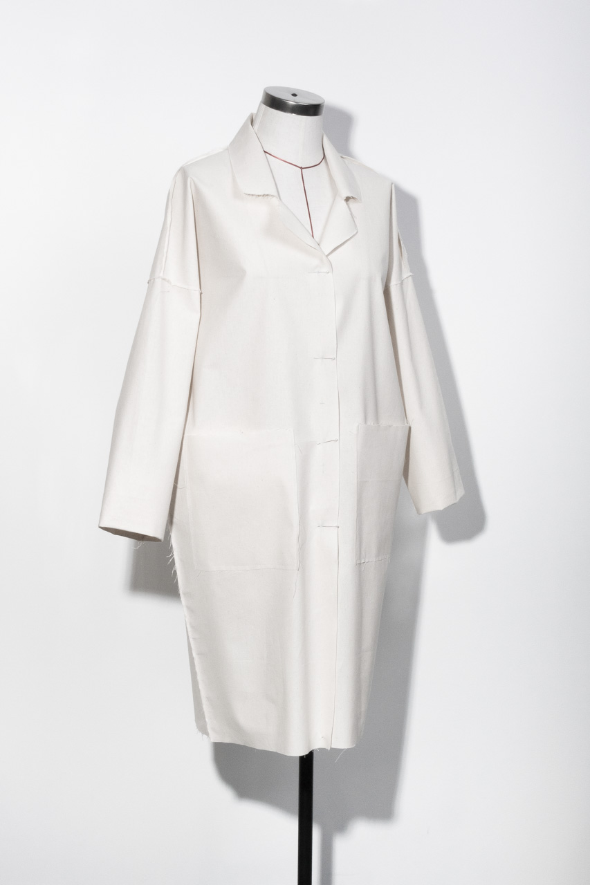 Assembil Blog: The Maker's Atelier Raw Edged Coat Pattern and Toile No. 1. Toile view front 2.