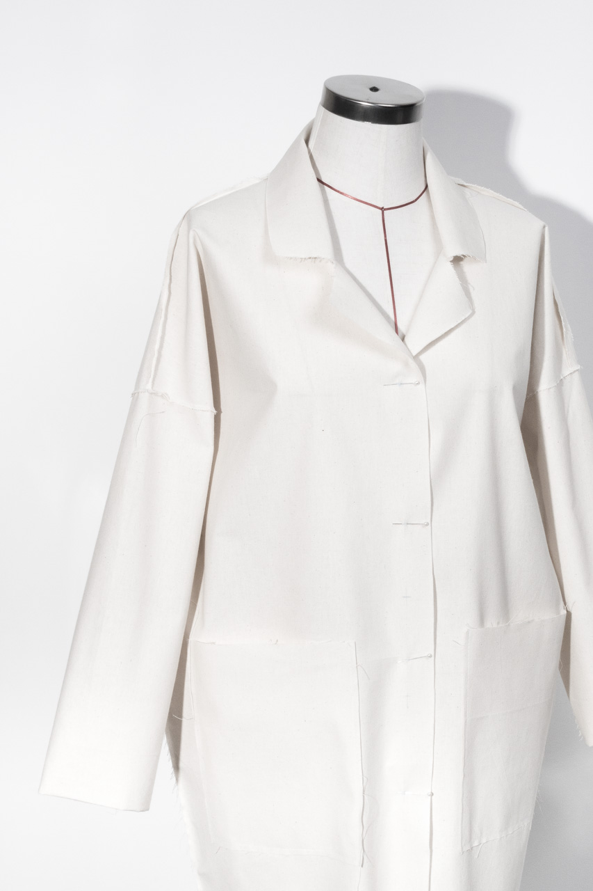 Assembil Blog: The Maker's Atelier Raw Edged Coat Pattern and Toile No. 1. Toile view detail 1.