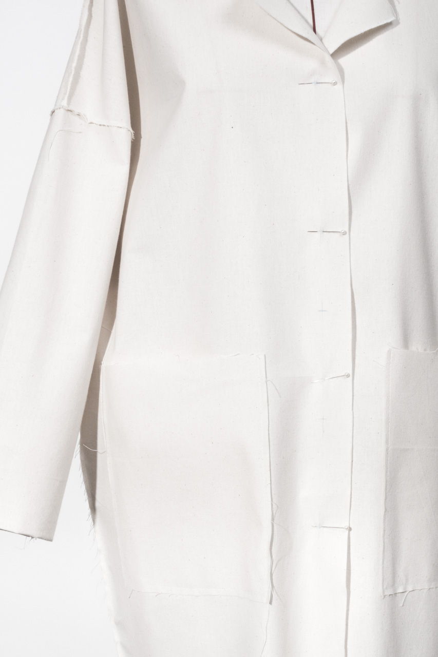 Assembil Blog: The Maker's Atelier Raw Edged Coat Pattern and Toile No. 1. Toile view detail 2.