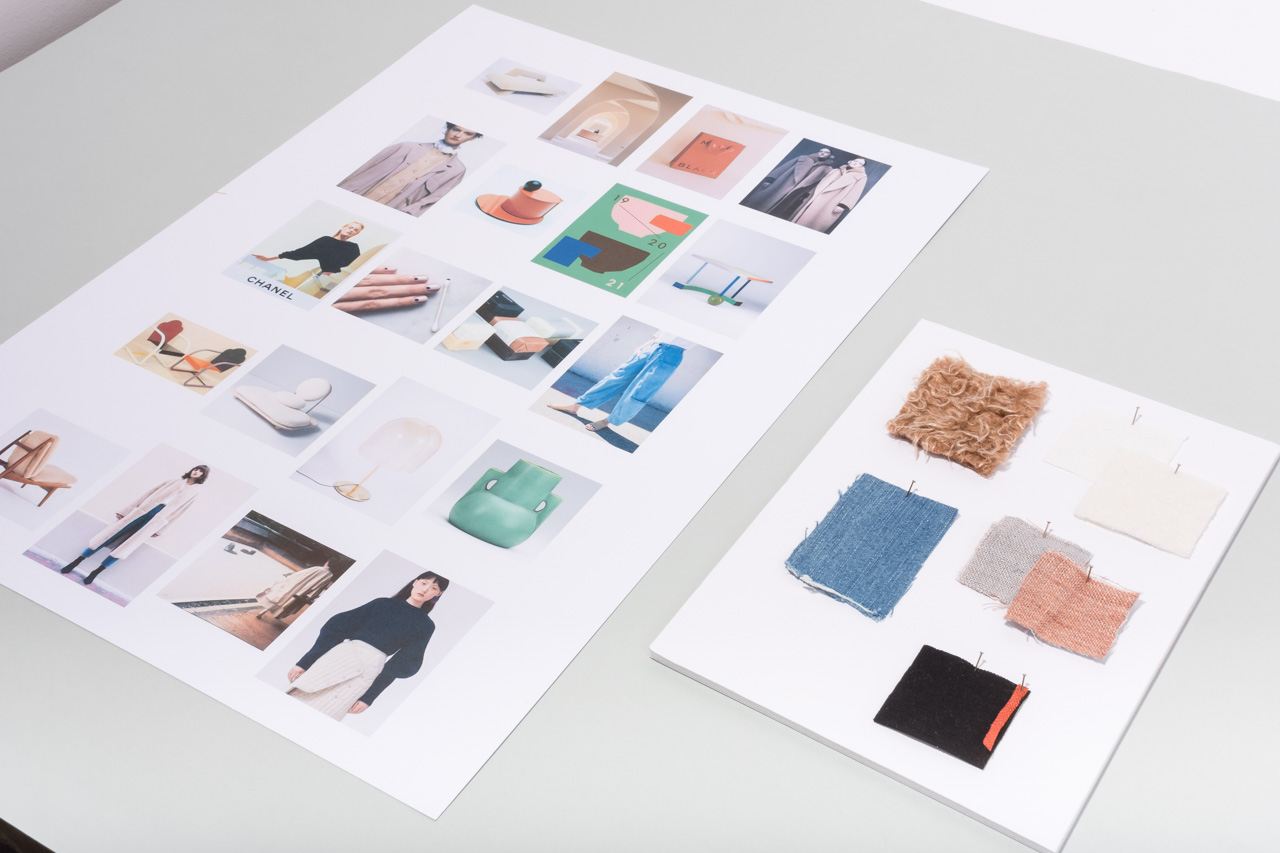 Assembil Blog: Mood Board 1. Mood board and fabric swatches, Image 1.