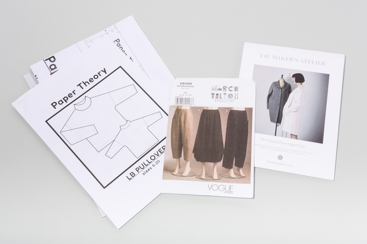 Assembil Blog: Mood Board 1. Vogue trouser pattern V8499, The Maker's Atelier Raw Edged Coat pattern, Paper Theory LB pullover pattern.