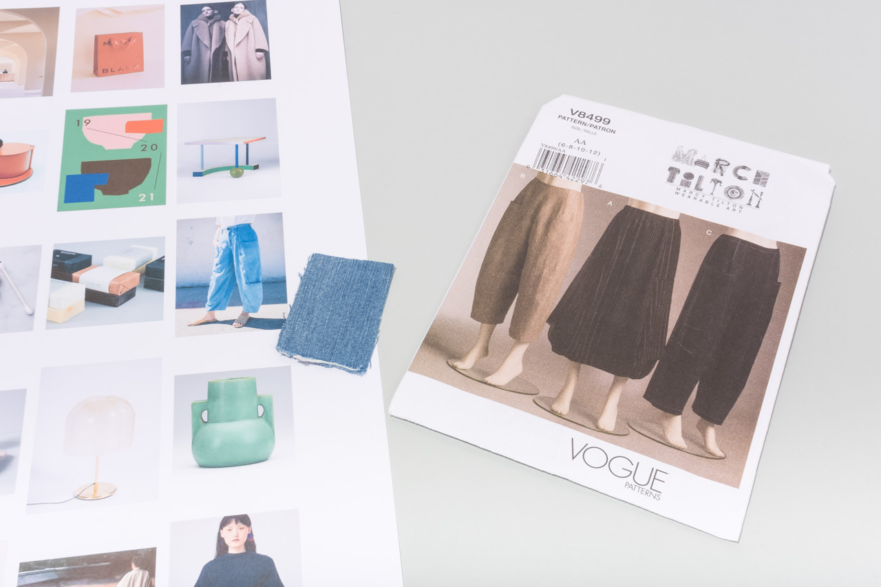 Assembil Blog: Mood Board 1. Vogue trouser pattern V8499 with fabric swatch.